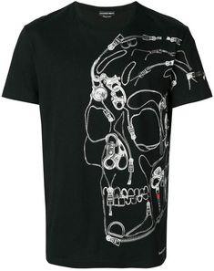 Alexander McQueen Zip Skull print T-shirt - Black Alexander Mcqueen, Types Of T Shirts, Cool T Shirts, Print T Shirts, Skull Fashion, Organic Cotton T Shirts, Skull Print, Black Print, Prints