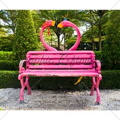 pink flamingo heart bench - that perfect, subtle piece for your garden...