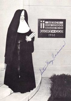 This photo by Patricksmercy on flickr.com shows the habits of the Sisters of Mercy when I was a girl in the mid 1960s before they changed to the more modern (then) habits.