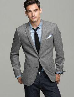 1be33946 cashmere herringbone sport jacket Moda Men, Grey Blazer Outfit, Gray Blazer  Men, Blazer