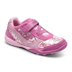 Stride Rite Lydia in Pink/Gold. #Striderite #lydiasneaker #babygirlshoes #cutegirlshoes #baby #girls #shoe #gold #pink