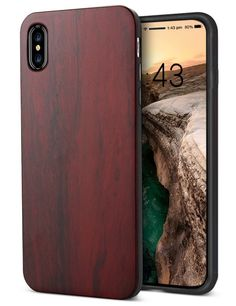 Cool iPhone X Case,Wood Phone Case, Unique Real Wood Shockproof Drop proof Bumper Protection Cover for iPhone X (Rosewood) Buy Iphone, Iphone 10, Coque Iphone, Apple Iphone, Iphone Cases, Wooden Case, Cool Tech, Iphone Models, Real Wood