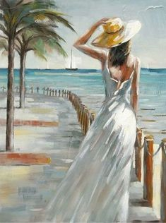 Woman painting looking at the sea 90120 Acrylic painting Beach Scene Painting, Beach Art, Acrylic Art, Beautiful Paintings, Pretty Pictures, Painting Inspiration, Watercolor Paintings, Canvas Art, Vacation Deals