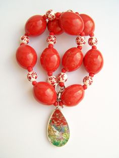 Pottery Shard Necklace Red Statement Necklace by polishedtwo, $30.00