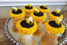 Cupcakes flor y abeja