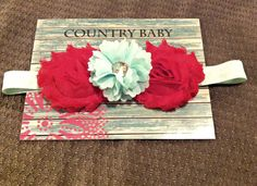 Mint and Red Shabby Rose Holiday Headband by CountryBabyHandmade, $8.99