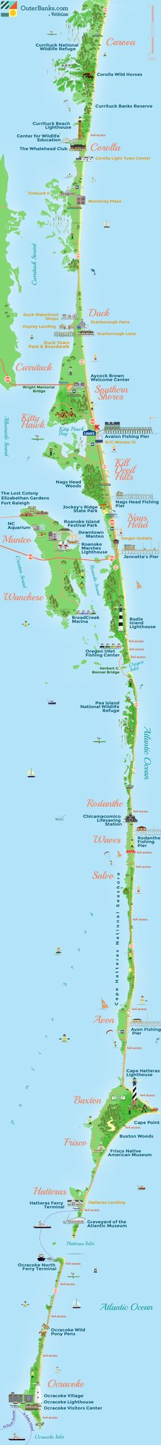 Outer Banks Map - a string of peninsulas and barrier islands separating the Atlantic Ocean from mainland North Carolina Outer Banks North Carolina, Outer Banks Nc, Outer Banks Vacation, North Carolina Homes, Vacation Places, Vacation Spots, Places To Travel, Places To See, Travel Things