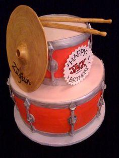 Red drum kit cake.