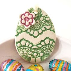 This cute little pottery Easter Egg decoration is hand cut from white earthenware clay, fired once, a rich glossy green glaze is applied and it is then fired again - so is nice and strong. Easter Art, Hoppy Easter, Easter Eggs, Easter Ideas, Clay Crafts, Clay Projects, Kids Crafts, Easter Egg Pattern, Hand Built Pottery