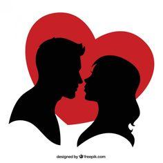 Silhouette d'un couple et d'un coeur rouge Vecteur gratuit