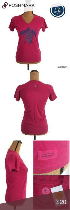 "🆕Life is Good Turtle Print Tshirt Cute T-shirt by Life is Good, V neck, fitted, sea turtle print with word ""Simplicity"", 100% Cotton, regular XS Life is Good Tops Tees - Short Sleeve"