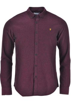 Farah Vintage Mens Long Sleeved Steen Shirt, Bordeaux | McElhinneys Department Store