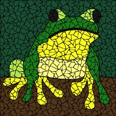 Treefrog Mosaic kit - pattern, instructions, & ceramic tiles. Designs by Brett Campbell mosaics
