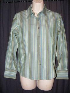 $28.48 or best offer.   Talbots Wrinkle Restistant Blue Green Stripe 100% Cotton Career Shirt Top 6P 6