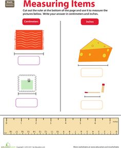 Worksheets: Ruler Reading: Centimeters and Inches