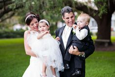 The Bride and Groom with their Mini-Me's