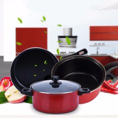 Special Price 3 Piece Non Stick Dishwasher Safe Cookware Set - RedOrder in good conditions 3 Piece Non Stick Dishwasher Safe Cookware Set - Red Before SE902HLAB08483ANMY-78238834 Kitchen & Dining Cookware Pots & Pans Sell Zone 3 Piece Non Stick Dishwasher Safe Cookware Set - Red