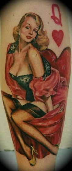 queen of hearts tattoo | Queen-of-Hearts-Pin-Up-Tattoo-Joey-Hamilton - Tattoo designs