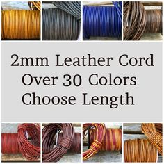 54 yards Gray Distressed Natural Dye Round Leather Cord 2mm 50 meters