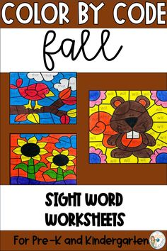 Fall Color by Sight Words for Pre-K and Kindergarten Pre K Activities, Reading Activities, Teaching Reading, Learning, Primary Classroom, Kindergarten Classroom, Sight Word Coloring, Small Group Reading, Sight Word Worksheets