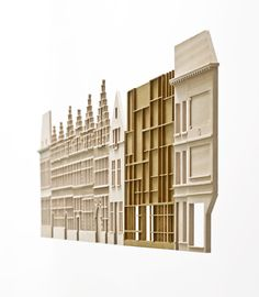 Behind the dignified façade of the Plantin-Moretus Museum lies a conglomeration of houses and workshops, gardens and courtyards. Maquette Architecture, Facade Architecture, Origami Architecture, Architecture Models, Cladding Design, Facade Design, Architectural Sculpture, 3d Modelle, Arch Model