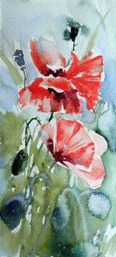 "Saatchi Art Artist Kovacs Anna Brigitta; Painting, ""Poppies III"" #art"