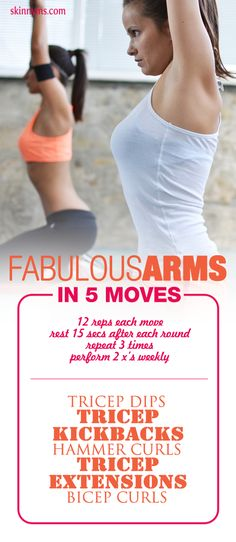 Fabulous Arms in 5 Moves--there is nothing better than the confidence of baring your arms confidently! #arms #workout #skinnyms