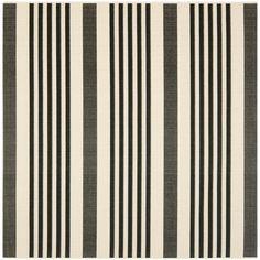 Safavieh Courtyard Stripe Black/ Bone Indoor/ Outdoor Rug (5'3 Square)