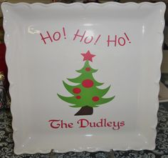 christmas plate....dollar tree has plates like this and with vinyl and my cricut I am fixed up!!!