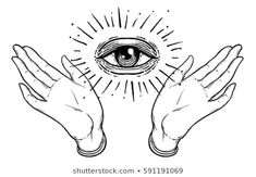 Open hand with the all-seeing eye on the palm. - Open hand with the all-seeing eye on the palm. Occult design vector illustration You are in the righ - Eye Drawing, Occult Tattoo, All Seeing Eye Tattoo, Eye Illustration, All Seeing Eye, Vector Illustration, Drawings, Hand Illustration, Occult