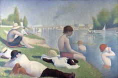 """""""Bathers at Asnières"""" by Georges Seurat. oil on canvas. In the collection of The National Gallery, London. The finished painting for which Seurat made many studies, including one at The Cleveland (OH) Museum of Art. Georges Seurat, Albertina Wien, Seurat Paintings, Oil Paintings, Paul Signac, National Gallery, Impressionist Art, French Artists, Famous Artists"""