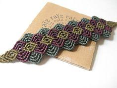Bracelet Wristband Macramé Autumn Tones Fall Colors by raiz.