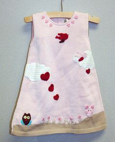 Knit Easter Pink Dress with owlsand  birds  for Baby by Renattoni, $52.00