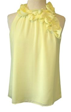 MM Couture : Yellow Chiffon Halter Top