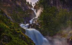 Download wallpapers Norway, 4k, waterfall, mountains, summer, Europe