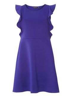Cobalt Ruffle Fit and Flare Dress