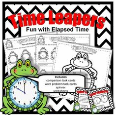 Digital download, 40 pgs, available at https://www.teacherspayteachers.com/Product/Time-Leapers-Fun-with-Elapsed-Time-3186973  Your third graders will love practicing elapsed time with these fun activities! A great idea for your classroom math centers and small groups. Includes comparison and word problem task cards, and a spinner to use with the worksheets. Meets third grade Common Core Standards.