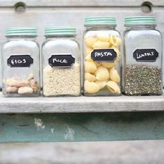 Chalk Board Storage Jars! No clutter in the kitchen please! These are adorbs!