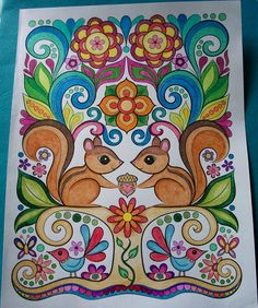 From Thaneeya McArdle's book, Happy Campers. This whole coloring book is adorable. Colored this design with colored pencils and Sharpie Ultra-Fine markers.