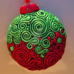 Red Green Filigree Ornament 2 by MandarinMoon on DeviantArt Polymer Clay Kunst, Fimo Clay, Polymer Clay Projects, Polymer Clay Creations, Polymer Clay Jewelry, Noel Christmas, Christmas Ornaments, Ball Ornaments, Christmas Balls