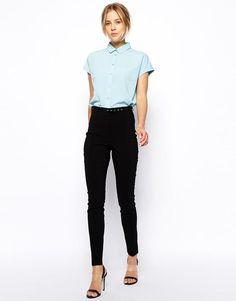 ASOS | ASOS High Waist Belted Pants in Skinny Fit at ASOS