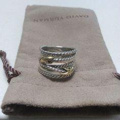David Yurman Double X Crossover  Ring  18k - http://designerjewelrygalleria.com/david-yurman/david-yurman-double-x-crossover-ring-18k/