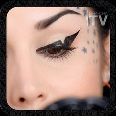 Geometric Cut Out Winged Liner Using The Tattoo Liner In Trooper Black And Waterproof Autograph Pencil Eyeliner In Puro Amor