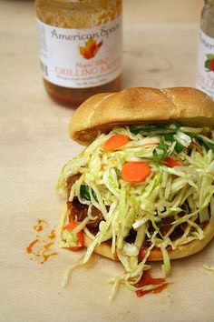maple bbq pulled turkey sandwiches with apple cider slaw Turkey Sandwiches, Wrap Sandwiches, Yummy Eats, Yummy Food, Fruit Preserves, Pulled Pork, Apple Cider, Gourmet Recipes, Burgers