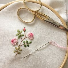 "It took me 3 episodes of ""Call the Midwife"" to stitch this little rose.  I started watching the series yesterday at my sister's recommendation.  I haven't NOT cried in a single episode. ☺️"