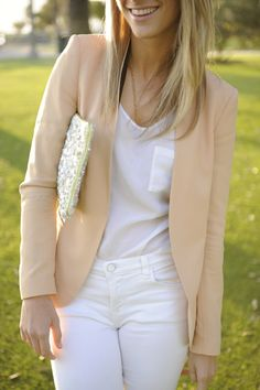 neutrals / white / sequins / nude outfit (nude blazer, white top, white jeans and sequin clutch)