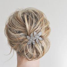 Flower Bridal Rhinestone Comb Comb Bridal by AllureWeddingJewelry