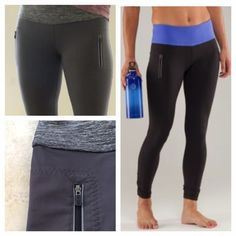 """Lululemon {Rare} Run: See Me Ride Tight In Coal Made of 4 way stretch power luxtreme fabric for """"no bounce""""  muscle support and quick drying wicking capabilities, drawstring at waistband. Quick access gel pockets, hip and back zip pockets for storage. Flip up the hem for reflective and low light visibility. Chafe resistant, flat seams. Excellent condition. No flaws. All reasonable offers are welcome! Please make all offers through the offer button lululemon athletica Pants Leggings"""