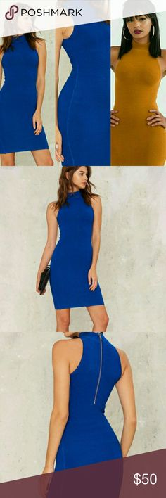 Olivaceous Hi Neck Bodycon Dress Cobalt Cobalt Blue (thick ribbed construction)  Sleeveless, mock neck, woven  Exposed back zipper,  Body-con silhouette 45% Rayon 30% Cotton 25% Spandex  Hand wash Imported Olivaceous  Dresses Mini