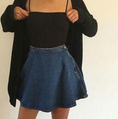black cardigan + black bodysuit + light-wash denim skirt